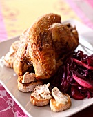 Roast pheasant with red cabbage