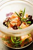 Lightly smoked salmon and herb salad