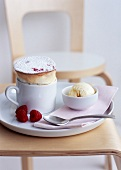 Raspberry soufflé with vanilla ice cream