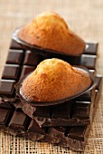 Madeleines coated with chocolate