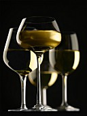 Composition with glasses of white wine on a black background