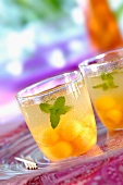 Chilled melon cocktail with fresh mint