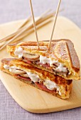 Parma ham,mushroom and mascarpone toasted sandwich