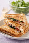 Raclette,spinach and grisons meat toasted sandwich