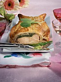 Salmon and spring vegetable mousse in pastry crust