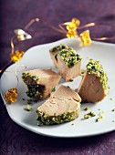Bite-size foie gras covered with crushed pistachios