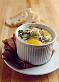 Coddled egg with Roquefort and cauliflower