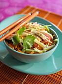 Asiatischer Salat mit Hähnchen, Möhre, Gurke und Koriander