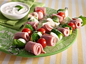 Ham,tomato,feta and courgette brochettes