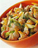Cockle, green apple and diced bacon salad