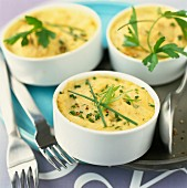Dishes of mashed potato gratin with chives