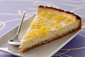 Portion of lemon cheesecake