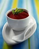Strawberry soup with mint
