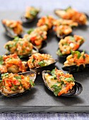 Stuffed mussels with pastis butter