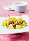 Green grapes and figs with cinnamon