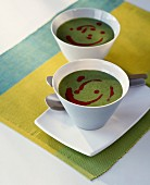 Corn salad and beetroot creamed soup
