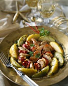 White sausage and lobster duo with apples