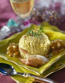 Crab meat dome and apple chutney