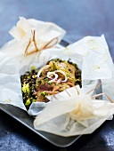 Beef and lentil papillote