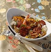 Jambalaya (Kreolisches Reisgericht mit Garnelen und Wurst)
