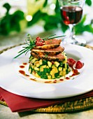 Warm zucchini tartare with duck magret