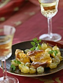 Duck foie gras escalope with grapes