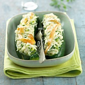 Zucchinis stuffed with Reblochon