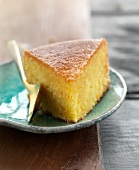 Portion of orange sponge cake