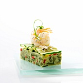 Gambas and vegetable Mille-feuille