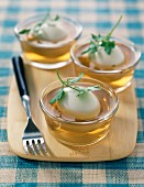 Soft-boiled eggs in aspic