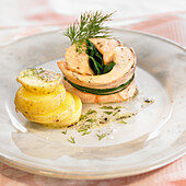 Salmon and Dill Steamed Potato Roll-Up
