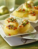 Potatoes with diced vegetables and fish