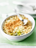 Leek and blue cheese savoury crumble