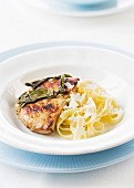 Veal escalope with sage and tagliatelles