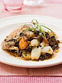Rabbit with confit onions and mushrooms