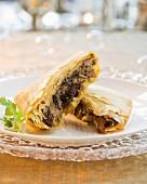 Mushroom filo pastry pies