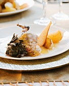 Pheasant with pears and sage