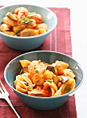 Conchiglionis with eggplants and sausage