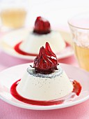 Panacotta with hibiscus puree