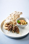 Lamb kebabs with eggplant caviar ,dried tomato bread