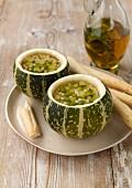 Minestrone served in round zucchinis