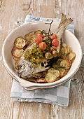 Sea bream with fried zucchinis