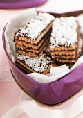 Rich tea biscuit,chocolate and coconut Mille-feuille