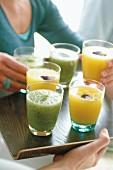 Melon-mint juice and mango juice