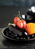 Tomatoes, aubergines, pumpkin and black olives