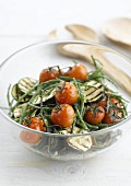 Warm seaweed, grilled zucchini and tomato salad