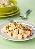 Potato,diced ham and mushroom salad