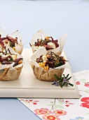 Lentil,red onion,feta and rosemary timbales