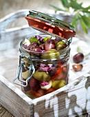Jar of mixed olives