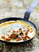 Chanterelle and chive omelette